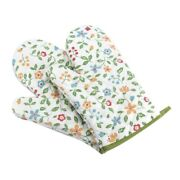 10x1 Pair Oven Mitts Floral Kitchen Gloves For Oven Cooking Grill And Bbq Non