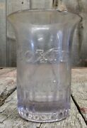 Vintage Embossed Moxie Soda Bevelled Bottom Drinking Glass Cup
