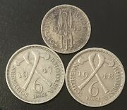 Southern Rhodesia 3 Coin Lot - 1948 Threepence And 1947 And 1948 Sixpence