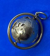 14k Yellow Gold Spinning Or Turning World Globe Earth Charm