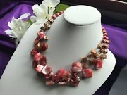 Vintage Triple Strand Pink Coral Color Glass Stone Collar Necklace   N39
