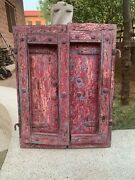 Vintage Rare Collectible Hand Painted Hand Forged Old Wooden Castle Window Door