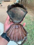 Antique Victorian Old Collectible Copper Shell Chain Mirror Makeup Purse Case