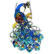 Colorful Peacock Bird Hanging Stained Glass Window Panel Home Decor 25h