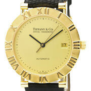 Polished Atlas 18k Gold Leather Automatic Mens Watch M6930 Bf525285