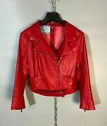 Authentic Prada Womens Zip Biker Belt Red Leather Cropped Jacket Size 42 / S