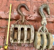 Vintage Pulley Block And Tackle Set, Wood And Steel