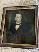 President Abraham Lincoln Reverse Painting On Glass Possibly By Prior