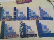 Set Of 7 Log Cabin Quilt Blocks In Blues Cotton Fabric Really Cute 7 3/4