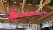 Vintage Marquee Lighted Red Arrow Flashing Double Sided Sign Works