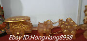 24and039and039 Rare Natural Crystal Gilt Carving 5 Horse Pull Carriage Person Statue