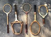 Lot Of 5 Vintage Tennis Rackets Wood Racquet Collection Rawlings Bancroft Wilson