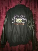 Unique Records Studios New York City Embroidered Jacket Leather Sleeve Xl Vtg