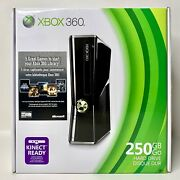 Xbox 360 S Game Console 250gb Gloss Black + 5 Full Games New Sealed
