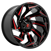 24 Inch 8x6.69 4 Wheels Rims 24x12 -44mm Black Milled With Red Tint Fuel 1pc