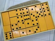 Vintage 28 Ct Bakelite Butterscotch Catalin Dominoes By Cardinal In Plastic Box.