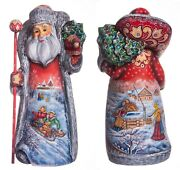 Wooden Hand Carved Santa Claus Figurine 12 Hand Painted Ded Moroz Father Frost