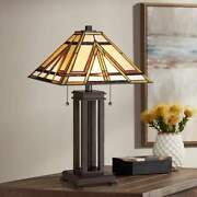 Quoizel -style Mission Arts And Crafts 2-light Table Lamp 22.5 In Height