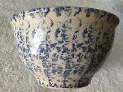 Vintage Blue And White Heavy Spongeware 8-1/2andrdquo Mixing Bowl