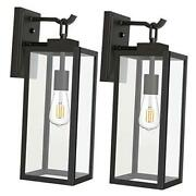 Outdoor Wall Lantern With Dusk To Dawn Photocell, Matte Black Porch Lights