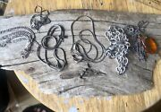 Lot Of Seven 925silver Chains, Various Sizes, Amberstone/charm