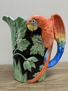 Vintage Fitz And Floyd Macaw Parrot Hand Painted Pitcher 1 1/2 Quarts 1986 Japan