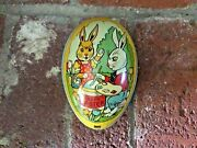 Rare Vintage J Chein Tin Litho Easter Egg Candy Container Rabbit Chicks Bunny