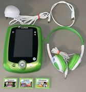 Leap Frog Leap Pad 2 Tablet System 3 Games Headphones Usb Charger Tested