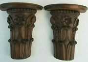 Pair Amazing Antique Wood Hand Carved Sconces Shelves From Old Estate