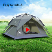 Outdoor Camping Waterproof Tent For 1-4 Persons Bed Mattress Solar Energy Lamp