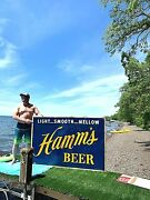 Vintage Early 1950and039s Rare Lg Hamms Beer Embossed Tin Metal Sign 69x46