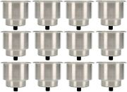 12 Pack Stainless Steel Recessed Cup Drink Holder With Drain For Boat Camper Rv
