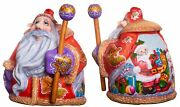 Woode Hand Carved Santa Claus Figurine 6 Christmas Decorations