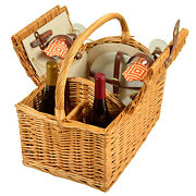Picnic At Ascot Vineyard Fully-lined Willow Picnic Basket W/ Service For 2 707