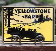 Rare Vintage Yellowstone Park Ande Rooney Porcelain Advertising Sign