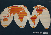 Vintage Gouache Painting World Map Poster