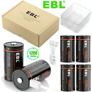 Ebl Usb D Size Cell Li-ion Rechargeable Batteries 10000mwh + Charing Cable Lot