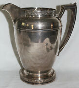 Large 1936 Reed And Barton Sterling Silver Water Pitcher W/ Repousse Top And Bottom