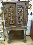 Ornate Cupboard Intricate Wood Carvings Vintage Furniture French Pick Up Only