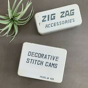 Vintage Sewing Machine Parts Tins Zig Zag Accessories And Decorative Stitch Cams