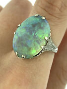 Vintage 7.0ct Opal Filigree Statement Ring In 18k White Gold Size 6.5 Very Fine