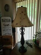 Vintage Dale Floral Lamp With Fabric Lamp Shade