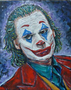Joker Movie Icon Comic New Oil Painting 8x10 Canvas Original Signed By Crowell