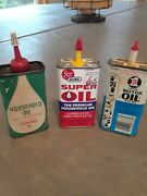 Vintage House Hold Oil Cans, 3 Pieces, Sinclair, Gunk, 3 In 1, Used