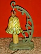 Old Green Millefiori Glass And Iron Lamp