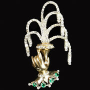Reja Gold Pave And Emeralds Hand Holding A Fountain Pin