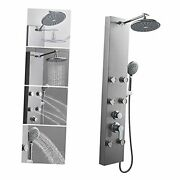 304 Stainless Steel Shower Panels Tower System, 8-inch Rainfall Shower Brushed