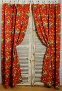 Rather Jolly Pair Long Vintage French Red Floral Cotton Curtains / Drapes C1930