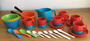 Vintage Plastic Toy Tea Set 1970's Red And Blue And 2 Orange Pans + 3 Bowls And Spoons