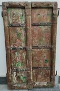 Ancient Wooden Old Hand Carving Collectible Hand Painted Haveli Fort Door